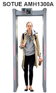 Metal detector, simultaneous multi-zone alarm walk-through metal detector gate